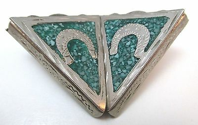 ALPACA MEXICO COLLAR TIPS W/ MALACHITE CHIP INLAY & HORSESHOE DESIGN **