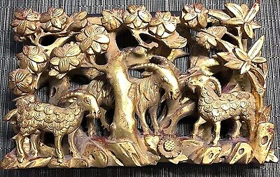 Antique Chinese Hand Carved Gilt Gold Leaf Bas Relief Wood Wall Hanging -Goats
