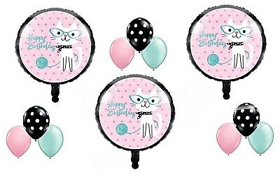 12 pc KITTY CAT DIVA Purrfect Birthday Party Balloons Decoration Supplies (Diva Party)