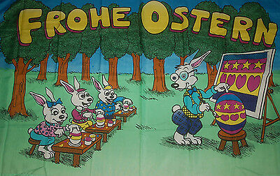 Frohe Ostern Hasenschule Flagge Fahne Hißflagge 90 x 150 cm