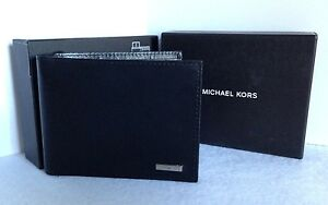 NWT~ MICHAEL KORS Black Silver Genuine Leather Bifold Passcase Men's Wallet