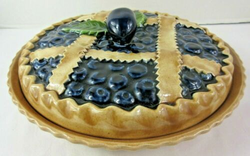 """Blueberry Pie Plate Dish Covered Ceramic Majolica Portugal Farmhouse Style 11.5"""""""