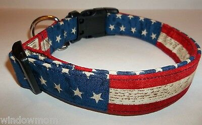 USA PATRIOTIC Old World Stars Stripes Dog Collar Custom made Adjustable 4TH JULY - Patriotic Stars Stripes