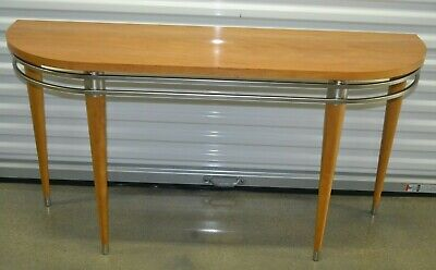 Living Room Maple Console Table - Ethan Allen Radius Sofa Table Console Maple Primavera Veneer Steel #12-9401