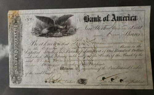 1853 Bank of America  Capital Stock Shares Certificate $100