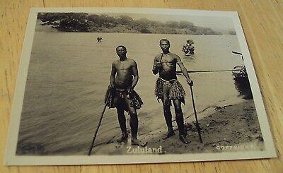 "Authentic 1920's Souvenir Photo~""ZULU TRIBESMEN""~South Africa~Native Dress~"
