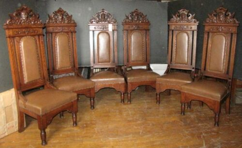 SIX (6) ANTIQUE OAK THRONE CHAIRS W/ WINGED GRIFFIN / PHOENIX CREST Inv. # 3780