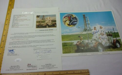Apollo XVII 17 Moon Landing SIGNED photo JSA authenticated Schmitt Evans Cernan