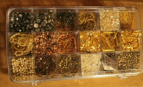 jewelry supplies: 1.3 lbs. fine beads natural stones & crystals, case included