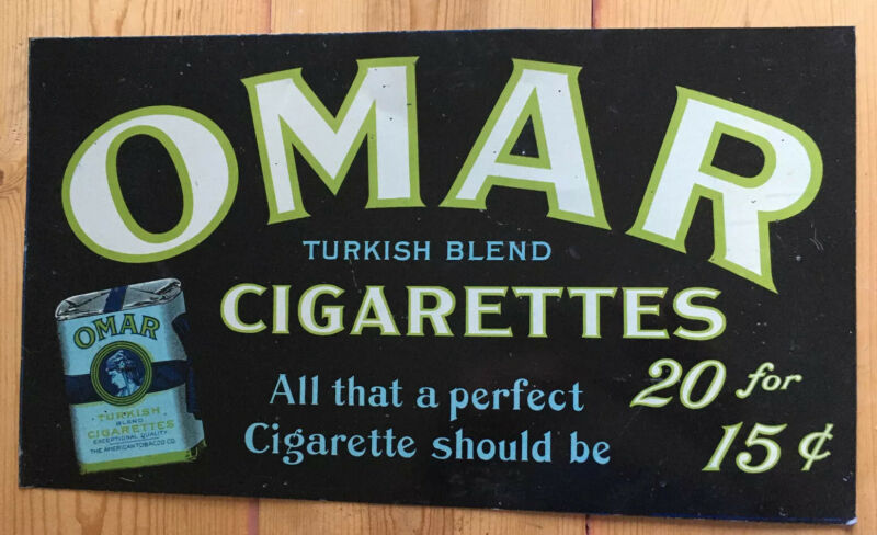 Original Omar Cigarettes Metal Sign American Tobacco Company