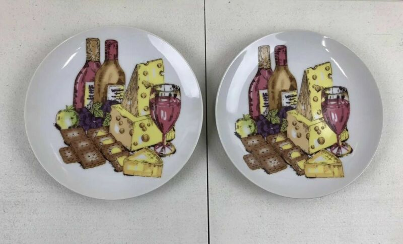 """2 Shafford Wine Cheese and Crackers Porcelain Appetizer 6"""" Bread & Butter Plate"""