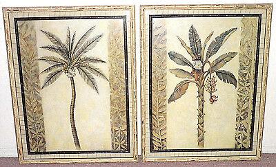 JOHN-RICHARD BANANA & COCONUT PALM TREE MATTED FRAMED WALL ART DECOR 33x42 LARGE