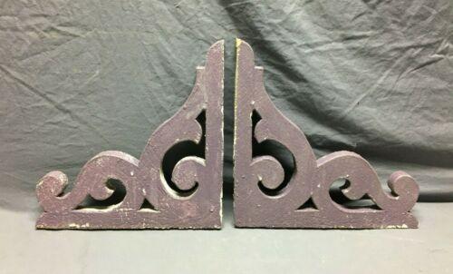 Pair Antique Gingerbread Roof Corbel Brackets Shabby VTG Purple Chic 273-21B