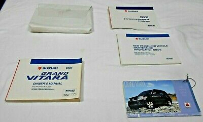 2007 SUZUKI GRAND VITARA OWNER MANUAL 5/PC.SET & WHITE PLASTIC DEALER CASE//