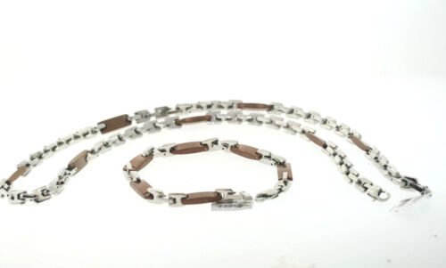 WHOLESALE LOT of 5 Chocolate Ion Plated Stainless 7mm Bracelet & Necklace Set