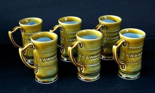 Set Of (6) Vintage WADE Irish Porcelain Coffee Mugs Ireland Shamrocks Blue Green