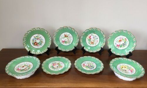 Antique 19th Century English Porcelain Botanical Dessert Set with STAPLE REPAIR
