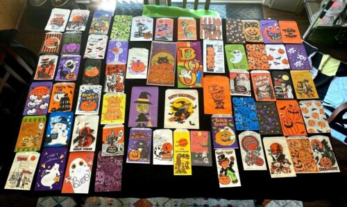 Large Vintage Lot of 61 DIFFERENT Halloween Paper Trick or Treat Candy Bags