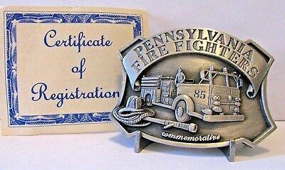 Pennsylvania Firefighter 1985 85 Engine Fire Truck & Logo Belt Buckle Ltd Ed 1st