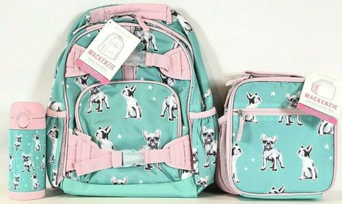 NEW Pottery Barn Kids Aqua Frenchies Dog Small Backpack, Lunch Box, Water Bottle