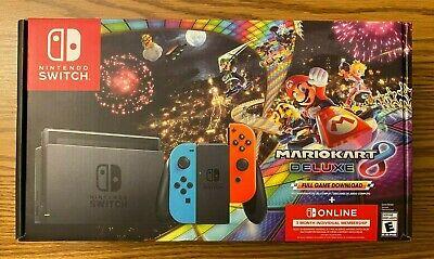 NEW Nintendo Switch Mario Kart 8 Deluxe Gaming Console Bundle w/ Neon Joy-Cons