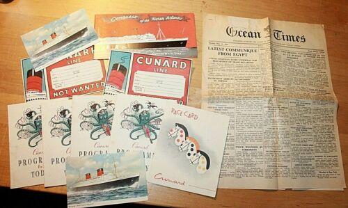 1957 CUNARD QUEEN ELIZABETH programs, post cards, newspaper, luggage Race Card