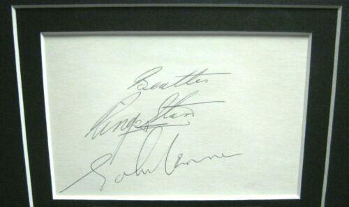 THE BEATLES JOHN LENNON & RINGO STARR SIGNED & INSCRIBED DISPLAY RR EPPERSON COA