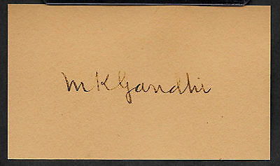 Mahatma Gandhi English India Autograph Reprint On Genuine 1940s 3x5 Card