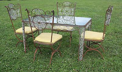 Vintage Woodard Wrought Iron Patio / Sun room Dining Set Table & Chairs - Nice!