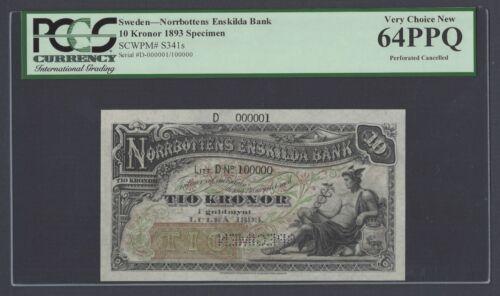 Sweden Norrbottens Enskilda Bank,10 Kronor 1893 PS341s Litt DN Specimen UNC