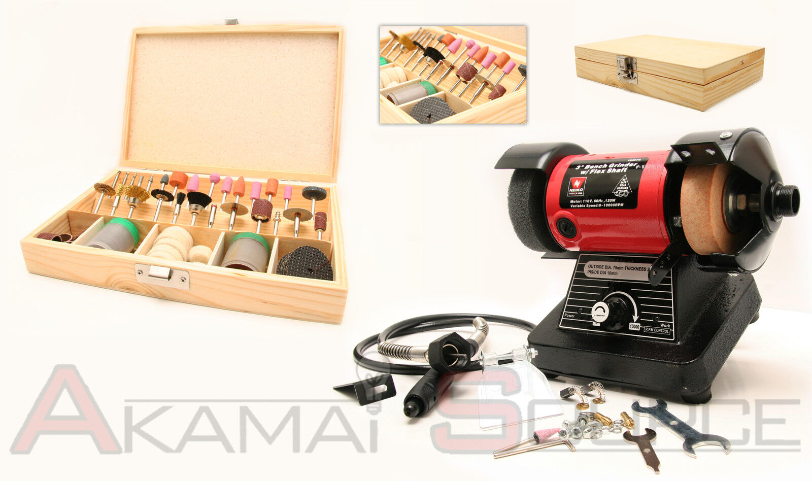 Combo 3 Mini Bench Grinder W/ 1/8 Flex Shaft Rotary Grinding Tool + 100pc Kit