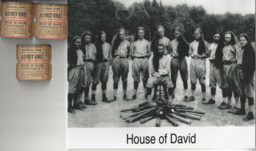 House of David 8x10 photo plus unused tickets to game Barnstorming Baseball Team