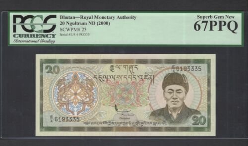 Bhutan 20 Ngultrum ND(2000) P23 Uncirculated Graded 67