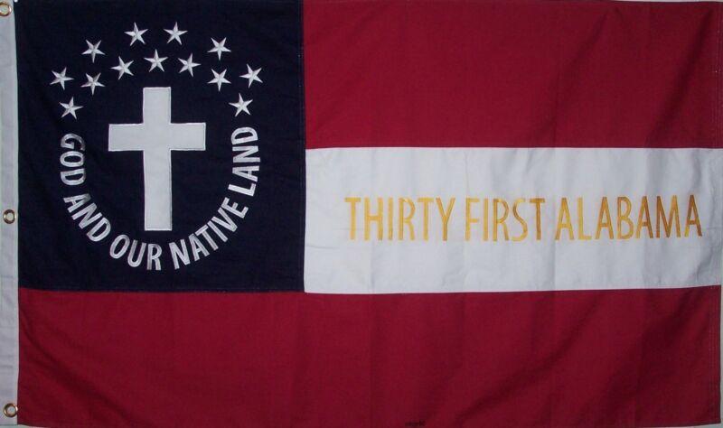 HEAVy COTTON 3 FEET X 5 FEET 31st ALABAMA CIVIL WAR FLAG - CSA - FREE SHIPPING