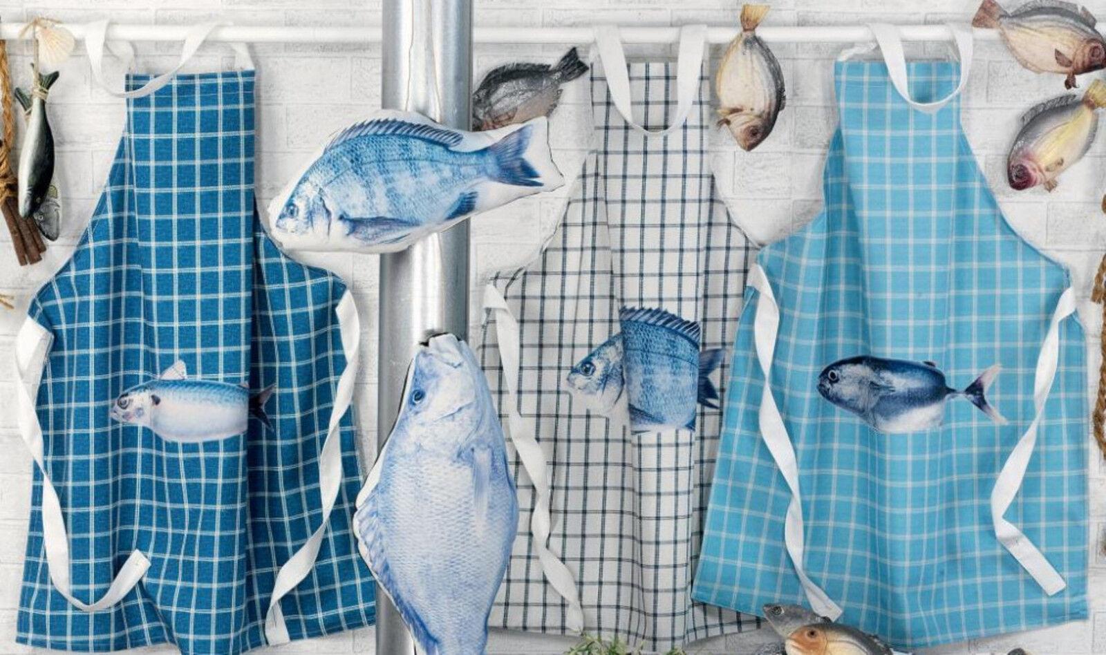 Hoff Interieur 1412 Schürze Fisch 100% Polyester hinten zum Binden - Bitte wähle