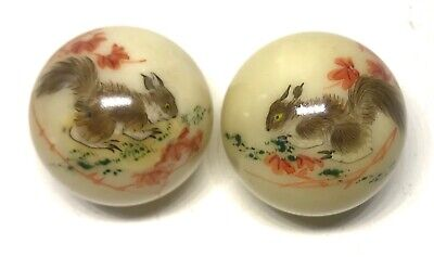Stunning Oriental Chinoiserie Pair Of Painted Marble Balls Featuring Squirrels