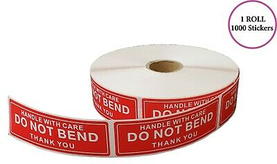 Handle With Care - Do Not Bend - Thank You Stickers 1x3 1000 Per Roll