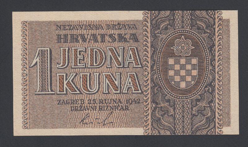 Croatia 1 Kuna 1942 AU-UNC P. 7,  Banknote, Uncirculated