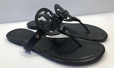 Tory Burch Miller Black Smooth Leather Thong Sandals Sz 10 M