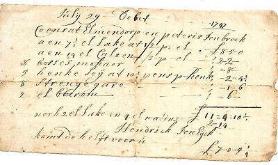 ELMENDORF TAVERN KINGSTON NEW YORK HENDRICK TEN EYCK SIGNED INVOICE 1747