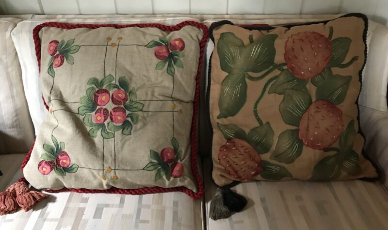 Antique Arts & Crafts Embroidered Mission Linen Fabric Pillows (2)  Stickley Era
