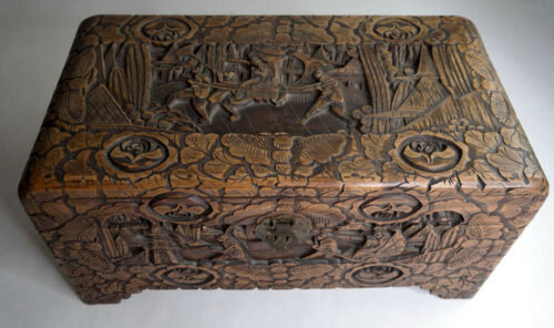 Antique Chinese Camphor Wood Hand Carved Chest Vintage Oriental
