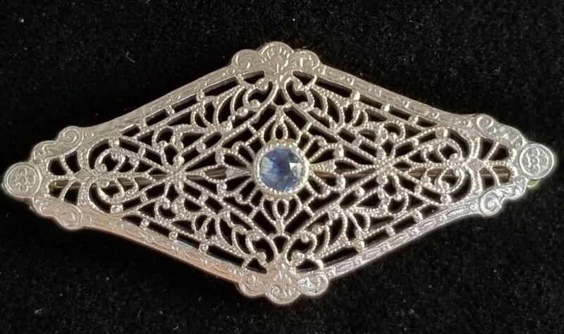 AJ Hedges Antique Art Nouveau 14k Gold Sapphire Brooch Pin- Estate Jewelry 3.2g
