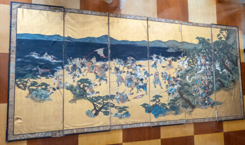Antique Massive Japanese Floor Folding Screen Panels Warrior Battle Scene