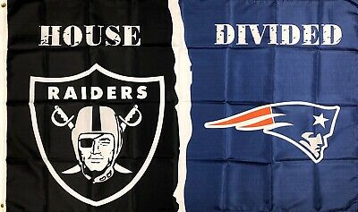 Oakland Raiders vs New England Patriots NFL House Divided Flag 3x5 ft Banner