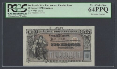 Sweden Enskilda Bank 10 Kronor 1894 PS331s Litt H Specimen Uncirculated