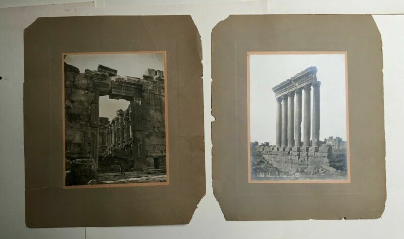 Two old photographs, one signed Bonfils, Temple of Baalbek, Lebanon, 19th...
