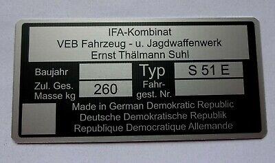 Typenschild Simson S51E Enduro Typenschild S51E Alu Rahmenschild  gebraucht kaufen  Bauerbach