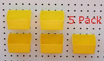 Plastic Yellow Board Bin 5 Pack Tool Workbench Pegboard Not Included