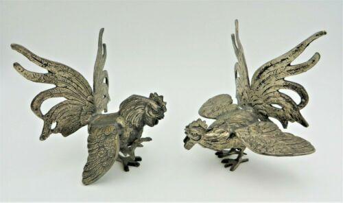 Vintage Pair of Silver Plate Metal Fighting Cocks Roosters Figurines